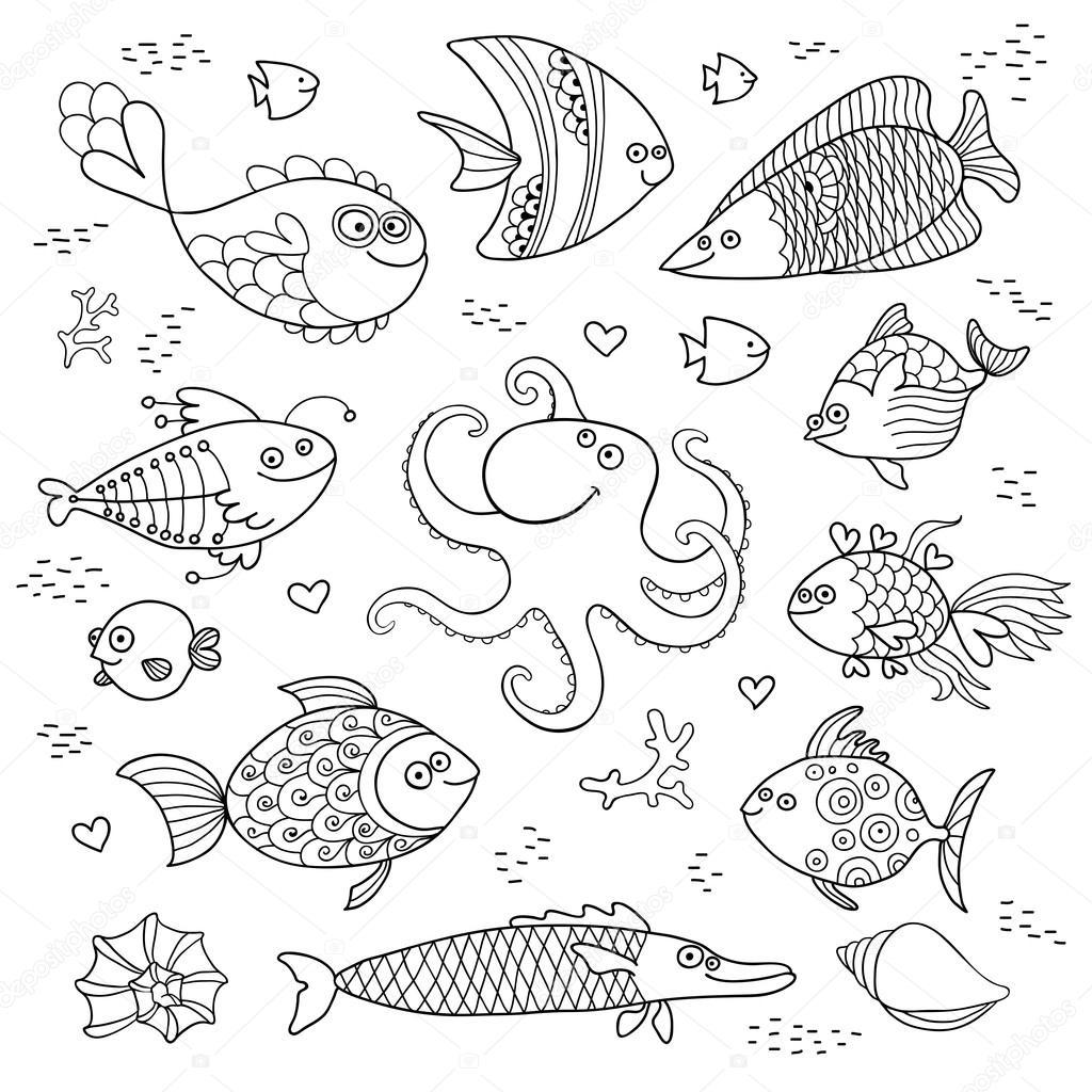 Impostare sveglio dei pesci e polpi per la progettazione for Disegni di pesci da stampare e colorare