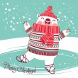 Christmas card with cute polar bear on an ice rink. — Vetor de Stock  #52151941