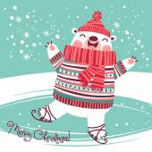 Christmas card with cute polar bear on an ice rink. — Stock Vector