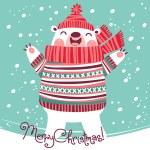 Christmas card with cute polar bear. — Stock Vector #52343849