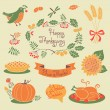 Happy Thanksgiving set of elements for design. — Stock Vector