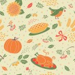 Seamless pattern with pumpkins, leaves, wheat and turkey. — Stock Vector #52507827