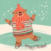 Christmas card with a pretty brown bear on an ice rink. — Stock Vector