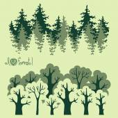 Abstract banners of green deciduous  forest and coniferous forest. — Stockvector