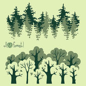 Abstract banners of green deciduous  forest and coniferous forest. — Vector de stock