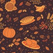Seamless pattern with pumpkins, leaves, wheat and turkey. — Vector de stock  #52638463