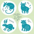 Постер, плакат: Set signs of the Chinese zodiac