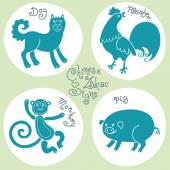 Set signs of the Chinese zodiac. — Stock vektor