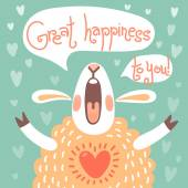 Card to the birthday or other holiday with cute sheep — Stock Vector
