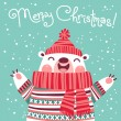 Christmas card with cute polar bear. — Stock Vector #53283231