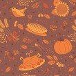 Seamless pattern with pumpkins, leaves, wheat and turkey. — Stock Vector #53287397