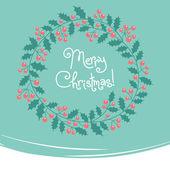 Vintage card with Christmas wreath. — Stock Vector