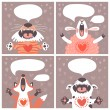 Set of cards with funny animals. — Vector de stock