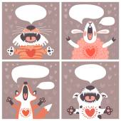 Set of cards with funny animals. — Stock Vector