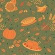 Seamless pattern with pumpkins, leaves, wheat and turkey. — Stock Vector #53730539