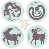 Zestaw znaków zodiaku chińskiego. — Wektor stockowy