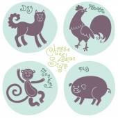 Set signs of the Chinese zodiac. — Vector de stock