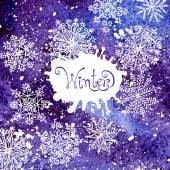 Winter background with snowflakes. Painting. Watercolor splash. — Stok Vektör