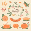 Happy Thanksgiving set of elements for design. — Stock Vector #54515403