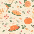 Seamless pattern with pumpkins, leaves, wheat and turkey. — Stock Vector #54515651