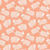 Seamless mönster med söta får. — Stockvektor