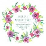 Vintage wreath in vector. Watercolor violets. — Stock Vector #55571573