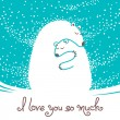 Greeting card with mother bear hugging her baby. — Stok Vektör #55799099