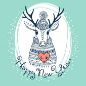 Hand drawn vector illustration with cute deer. Happy New Year card — Stock Vector