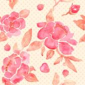 Watercolor seamless wallpaper with Peony flowers in vector. — Stockvektor