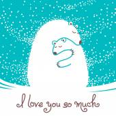 Greeting card with mother bear hugging her baby. — Stockvektor