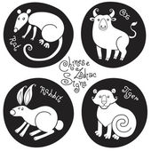 Black and white set signs of the Chinese zodiac. — Stock Vector