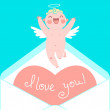 Valentines Day card with cute Cupids and hearts. — Stock Vector #60060137