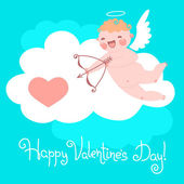 Valentines Day card with cute Cupids and hearts. — Stock Vector