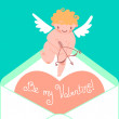 Valentines Day card with cute Cupids and hearts. — Stock Vector #60239051