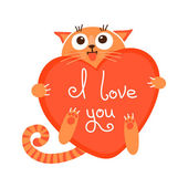 Cute cartoon ginger cat with heart and declaration of love. — Stock Vector