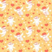 Valentines Day romantic seamless pattern with cute cupid and hearts. — Vetor de Stock