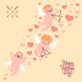 Valentines Day romantic background with cute angels. — Stockvector
