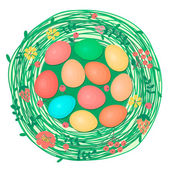 Happy Easter card with colored eggs in nest. — Stock Vector