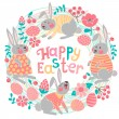 Happy Easter card with cute bunnies and colored eggs. — Stock Vector #61900537
