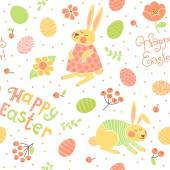 Happy Easter seamless pattern with cute bunnies and eggs. — Stock Vector