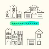 Houses set drawn black outline on a light background. — Stock Vector