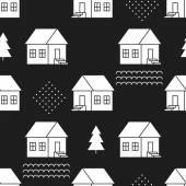 Seamless pattern with country houses. — Stock Vector