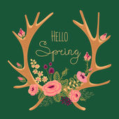 Vintage card with deer antlers and flowers. — Stock Vector
