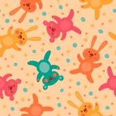 Kids seamless pattern with cute bears and hares. — Stock Vector