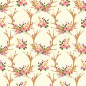 Jahrgang nahtlose Muster mit Hirsch-Geweihe und Blumen. — Stockvektor