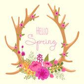 Vintage card with deer antlers and flowers. — Vector de stock