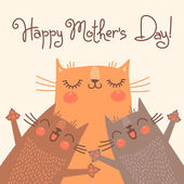 Sweet card for Mothers Day with cats. — Stockvektor