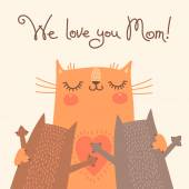 Sweet card for Mothers Day with cats. — Stock Vector