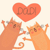 Sweet card for Fathers Day with cats. — Stock Vector