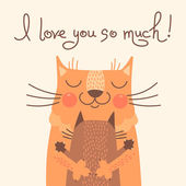 Sweet card for Fathers Day with cats. — Stok Vektör